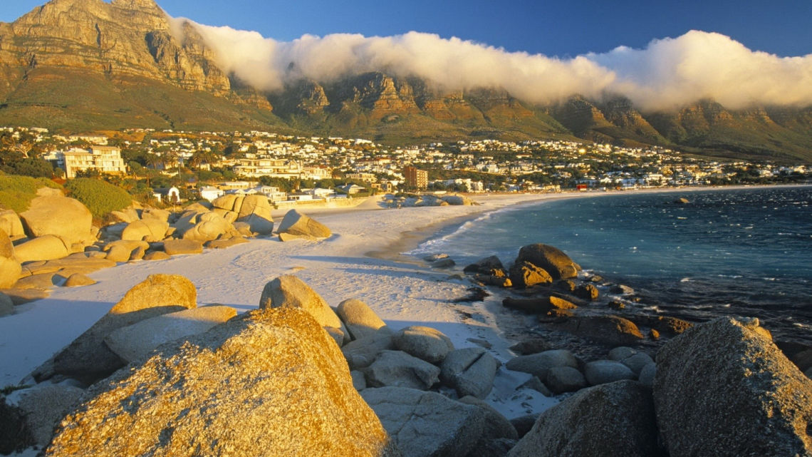 beach cape town mountain clouds city world wallpaper nature